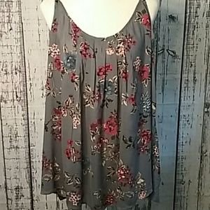 Torrid Plus size 3 summer blouse gray strappy